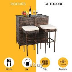 3PC Rattan Wicker Bar Set Patio Outdoor Table & 2 Stools Dining Furniture Brown