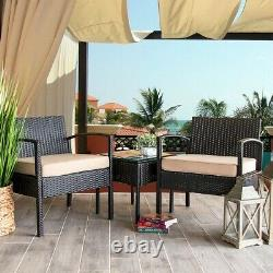 3PC Rattan Wicker Furniture Table Chair Sofa Cushioned Patio Outdoor Gardening