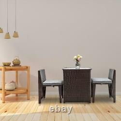 3PC Space Saving Patio In/Outdoor Furniture Wicker Rattan Bistro Table Chair Set