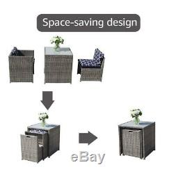 3Pcs Outdoor Conversation Set Wicker Patio Furniture Sets with Glass Table&chair