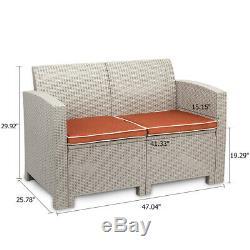 3Pcs Outdoor Patio Garden Furniture Sofa Set 2 PC Cushions White-Love Seat Table