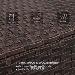 3Pcs Outdoor Patio Sofa Set PE Rattan Wicker Sectional Furniture Couch WithCushion