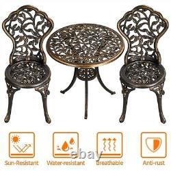 3Pcs Patio Table Chairs Furniture Bistro Set Cast Aluminum Outdoor Garden Bronze