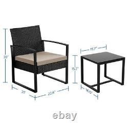 3Pcs Wicker Patio Furniture Rattan Chairs Table Conversation Sets Outdoor