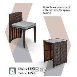 3 PCS Cushioned Indoor/Outdoor Wicker Patio Set Garden Sofa Home Furniture Seat
