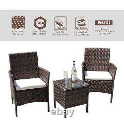 3-PCS Outdoor Patio Furniture Set Wicker Rattan Chair with Coffee Table Brown