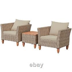3 PCS Outdoor Patio Rattan Bistro Furniture Set Wooden Table Top Cushioned Sofa