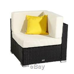 3 PCS Patio Furniture Sectional Sofa Set Outdoor Rattan Wicker Cushioned Couch
