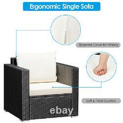 3 PCS Patio Rattan Furniture Set Conversation Wicker Set Cushioned Sofa Outdoor