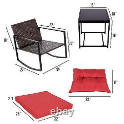 3 PCS Patio Wicker Rocking Chair Set Garden Furniture Outdoor Rocker Cushion New
