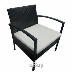 3 PCS Rattan Sofa Wicker Furniture Table & Chair Set Cushioned Patio Outdoor
