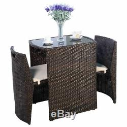 3 PC Brown Outdoor Chair Dining Table Restaurant Patio Deck Padded Furniture Set
