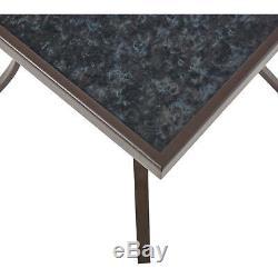 3 PIECE OUTDOOR PATIO FURNITURE SET Bistro Garden Yard Durable Steel Table Chair