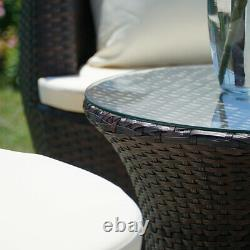 3 Pc Patio Outdoor Rattan Set Wicker Furniture Glass Table Brown Round Chairs