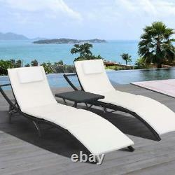 3-Pcs Adjustable Pool Chaise Lounge Chair Outdoor Patio Furniture With Cushion