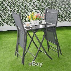 3 Pcs Bistro Set Garden Backyard Table Chairs Outdoor Patio Furniture Folding