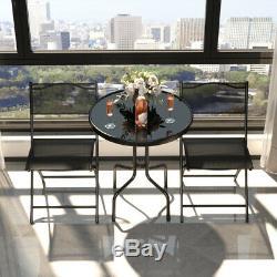 3 Pcs Bistro Set Garden Backyard Table Folding Chairs Outdoor Patio Furniture