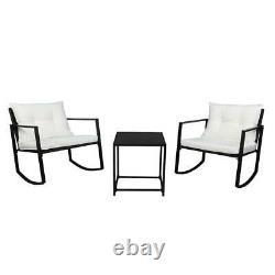 3 Pcs Outdoor Rattan Wicker Rocker Lounge Rocking Chair Patio Furniture Set New