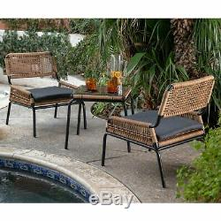 3 Piece Black Cushion Patio Bistro Seating Set Resin Wicker Outdoor Furniture