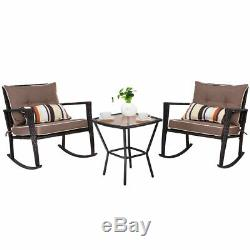 3-Piece Outdoor Patio Rattan Wicker Furniture Set Rocking Chair Coffee Table
