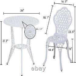 3 Piece Patio Bistro Furniture Set Outdoor Garden Table Set with Umbrella Hole