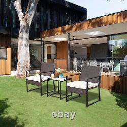 3 Piece Patio Bistro Set Outdoor Furniture Table & Chairs Rattan Conversation