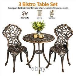 3 Piece Patio Bistro Table Set Outdoor Metal Furniture Set Bistro Dining Set