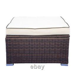 3 Piece Patio Sectional Wicker Rattan Outdoor Furniture Sofa Set with Cushions