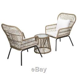 3-Piece modern Patio Furniture table and Chairs Bistro Set Outdoor wicker lawn