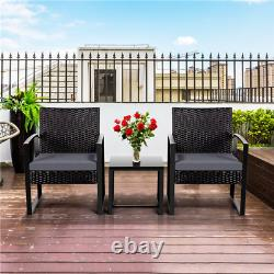3 Pieces PE Rattan Wicker Chairs Outdoor Patio Dining Furniture Set with Table