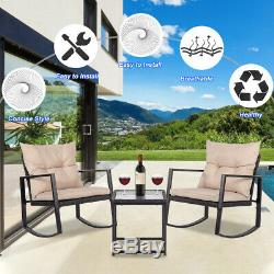 3 Pieces Patio Set Outdoor Wicker Patio Sets Rocking Coffee Table, Black