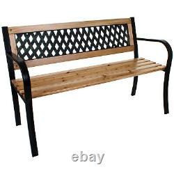 3 Seater Garden Bench Outdoor Patio Furniture Wooden Slats Metal Legs Lattice