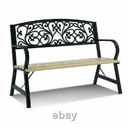 3 Seater Metal Garden Park Bench Outdoor Wooden Patio Furniture Cast Iron Chair