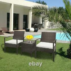 3 pcs Outdoor Patio Rattan Wicker Couch Sofa Glass Top Table Chair Furniture Set