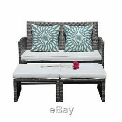 3 piece Outdoor Wicker Loveseat Sofa Furniture Set with Ottoman Cushioned Couch
