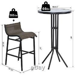 3pc Outdoor Patio Bar Table Chairs Bistro Set Garden Pool Backyard Furniture