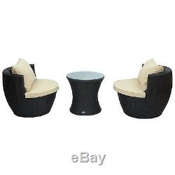 3pc Rattan Wicker Sofa Outdoor Patio Stackable Furniture Set Chat Chairs & Table