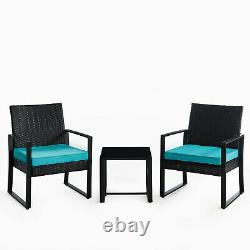 3pc Wicker Rattan Patio Outdoor Furniture Conversation Sofa Bistro Set Garden