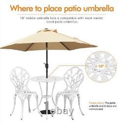3pcs Outdoor Patio Bistro Set Antique Cast Aluminum Floral Dining Furniture Set