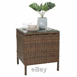 3pcs Outdoor Patio Bistro Set PE Rattan Wicker Furniture Conversation WithCushion