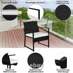3pcs Outdoor Patio Bistro Set PE Rattan Wicker Furniture Conversation with Cushion