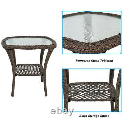 3pcs Outdoor Wicker Swivel Rocker Chairs Patio Furniture with Cushion & Side Table