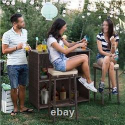 3pcs Rattan Patio Bar Set Outdoor Wicker Conversation Set Garden Patio Furniture