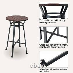41'' Patio Bar Table Round Height Coffee Table Metal Indoor Outdoor Furniture