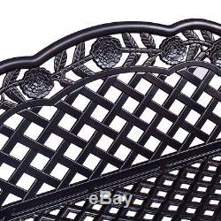 42.5 Patio Garden Bench Outdoor Furniture Cast Aluminum Antique Rose Design