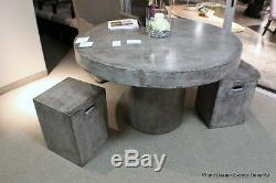 48 Round dining table solid concrete cement modern sealed indoor outdoor