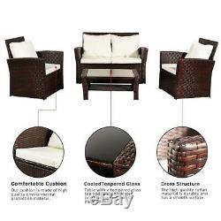 4PCS In/Outdoor Patio Rattan Wicker Furniture Set Wicker Table Sofa /w Cushioned
