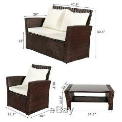 4PCS Indoor/Outdoor Patio Rattan Wicker Table Sofa Furniture Set with Cushions
