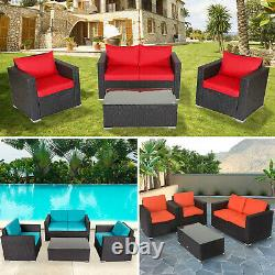 4PCS Outdoor Furniture Patio Rattan Wicker Sofa Set Sectional Cushioned Chair