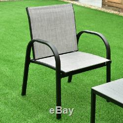 4PCS Outdoor Patio Furniture Set Chair Coffee Table Steel Frame Home Garden Gray